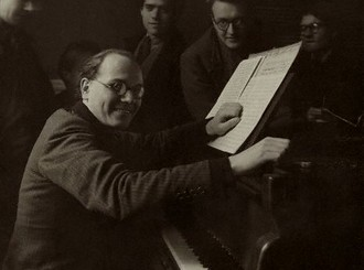 Composer Oliver Messiaen at Piano